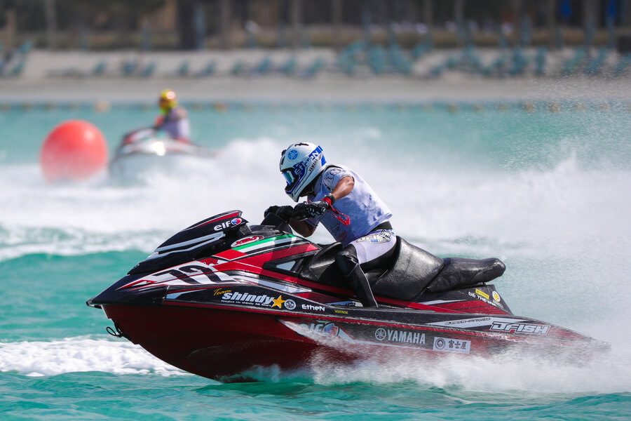 Phoenician Boat - A racer takes a sharp turn during the UAE Aquabike Championship at the 2019 DIBS