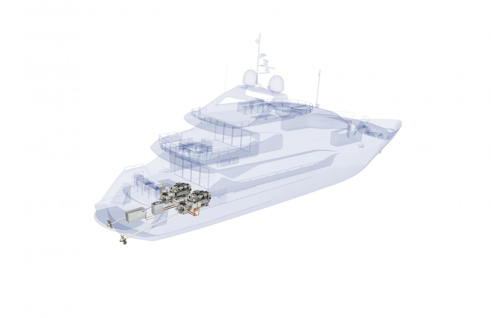 Graphic MTU Hybrid System in Sunseeker Yacht