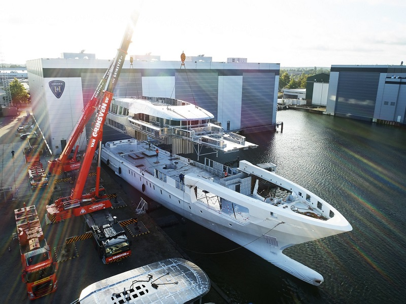 Hull and Superstructure Joined on Heesen 60 Metre Project Falcon